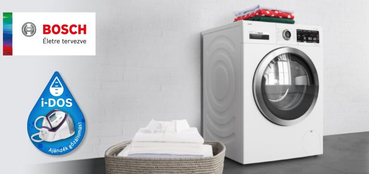 Bosch iDOS mosógépek ajándék gőzállomással