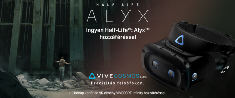 HTC VIVE COSMOS ELITE most ajándék Half-Life Alyx hozzáféréssel!
