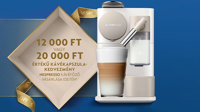 Ajándék Nespresso 12 000 Ft vagy 20 000 Ft kávékapszula kedvezmény