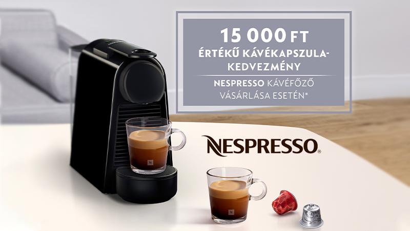 Nespresso kávéfőző vásárlása esetén 15 000 Ft kedvezménnyel vásárolhatsz kávékapszulát