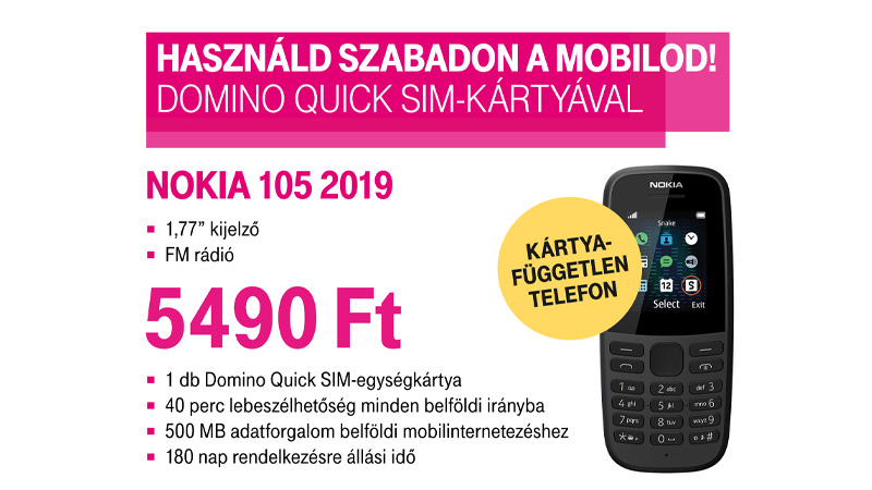 NOKIA 105 2019 mobiltelefon + AJÁNDÉK Domino Quick alapcsomag: